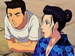 Hentai geisha gets gangbanged and facialed outdoors