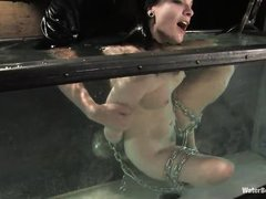 milf in chains get's fingered and drowned