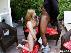 blonde delights herself with huge black cocks