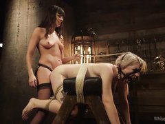 brunette domina fucks tied blonde with strap-on