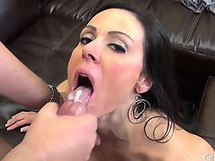 Hot MILF Kendra Lust gets nailed on the couch and eats a mouthful