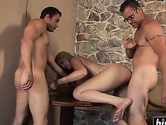 Busty slut gets slammed by two guys