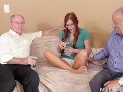skinny redhead satisfying two old men
