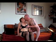 Mature european babe in stockings gives guy a blowjob