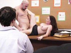 busty milf gets her boss's dick deep inside her pussy