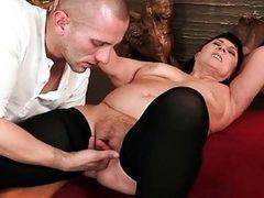 Fat grandma in black stockings getting fucked