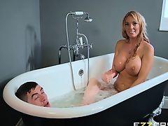 Rebecca Moore And Stacey Saran In Rub And Tug Tub