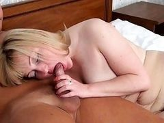 Sexy neighbour with hairy pussy sucking big cock