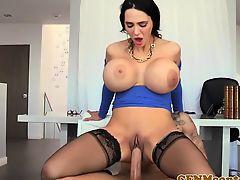 Cfnm busty femdom Amy Anderssens facial