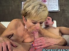 Blonde granny sucks dick