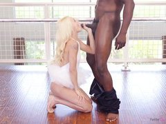 petite ballerina gets filled with thick black cock