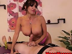 Mature masseuse humiliating cumstomer