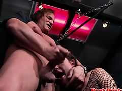 Dominated babe facefucked in dungeon