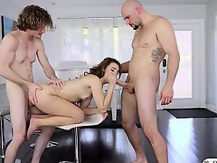 Sexy babe Harley Ann gets fucked by her bf and his friend