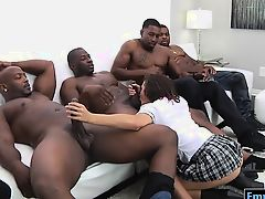 Hot slut Keisha Grey takes by massive black cocks at a time