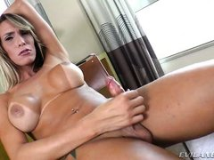 sexy tranny with tanlines jacks off