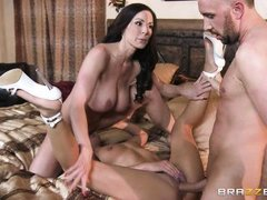 lusty brunette bitches play with cock