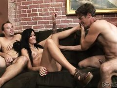 brunette gets threesome with bisexual dudes @ husband wife cock swappers #02