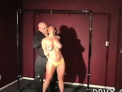Nipple torture and sex toy play for ballgagged slut