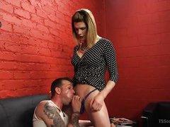 sexy tranny milf makes her slave suck cock