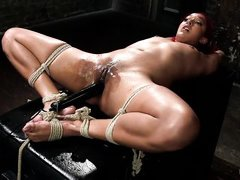 horny redhead got tied up and aroused